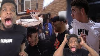 HOP IN YO DUFFLE THEN LAMELO! DROPS 30 IN DREW LEAGUE DEBUT + LONZO & LAVAR WATCHING!