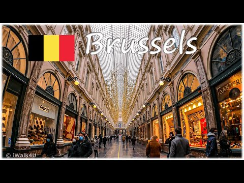 🇧🇪 Brussels City Walking Tour 🌁 4K Christmas Season Walk ☁️ Belgium 🇧🇪 (Cloudy Day)