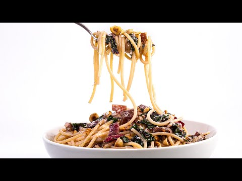 How To Make Red Chard And Ricotta Spaghetti With Bacon By Rachael