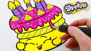 SHOPKINS Birthday Wishes Speed Coloring Book Page With Markers