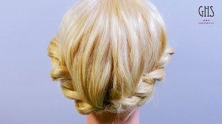 ツイスト編み込みアップヘアアレンジ | Twist hairdoをミディアムのボブ...