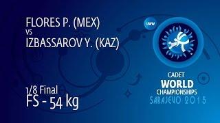 1/8 FS - 54 Kg: Y. IZBASSAROV (KAZ) Df. P. FLORES (MEX), 10-6