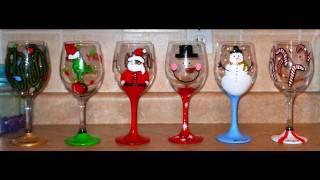 DIY: Hand Painted Wine Glasses - CHRISTMAS EDITION Theeasydiy Crafty