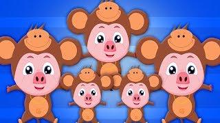 Пять маленьких обезьян | детская поэма | рифма для детей | Nursery Rhymes | Five Little Monkey
