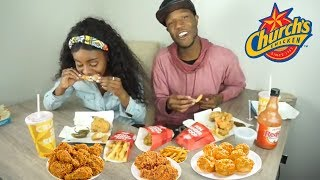 connectYoutube - Church's Fried Chicken Mukbang (Eating Show) | Holly and Sdot