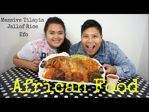 Mukbang African Food - Massive Tilapia, Asorted meats, Jollof Rice, Efo and Fried Rice
