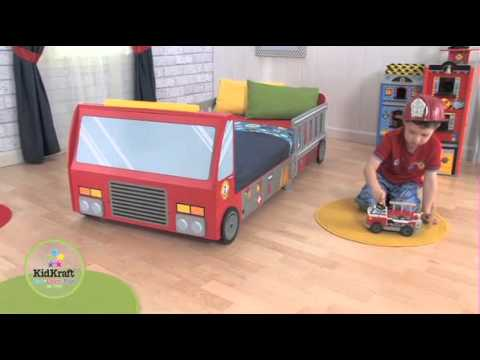 KidKraft Fire Truck Toddler Bed - YouTube
