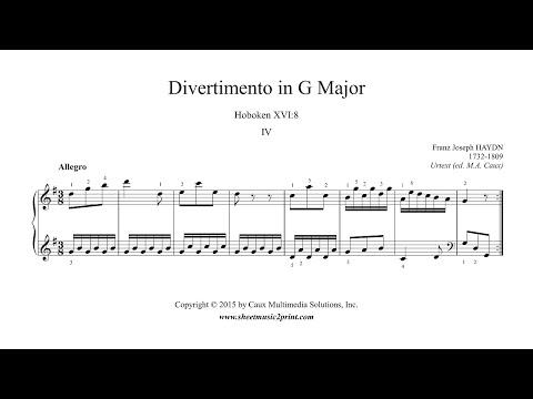 Haydn : Divertimento in G Major, Hob. XVI:8 (IV : Allegro)