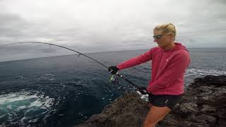 Kate´s getting smoked on 30 lb tackle