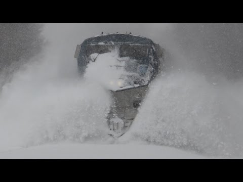 Thumbnail: Amtrak trains plowing snow 2/9/15