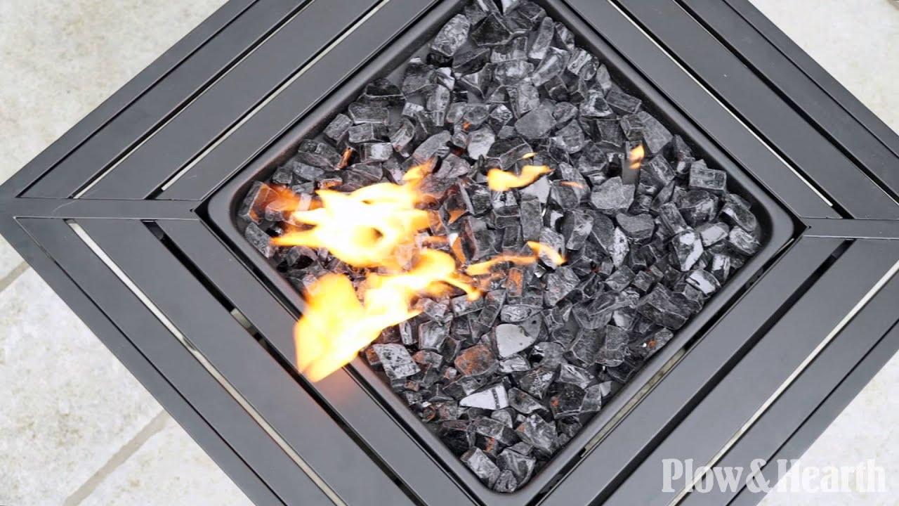 Slatted Propane Fire Pit With Black Firegl Sku 14057 Plow Hearth