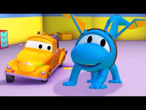 Bärgningsbilen Toms Målarverkstad: Helikoptern Hector är en drake | Lastbilsserier för barn