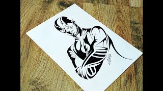 How to draw The Flash - Tribal Tattoo Design style - Art Maker Akshay