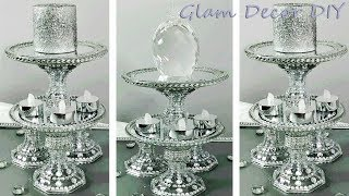 Dollar Tree DIY Glam Bling Tier Mirror Candle Holder