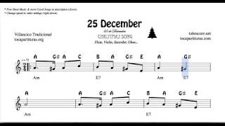25th of December Christmas Notes Sheet Music for Flute Violin Oboe Voice    Easy Carol Song
