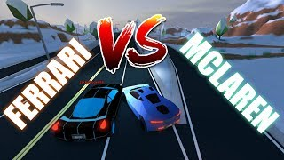 ROBLOX JAILBREAK LEVEL 5 FERRARI VS LEVEL 5 MCLAREN!