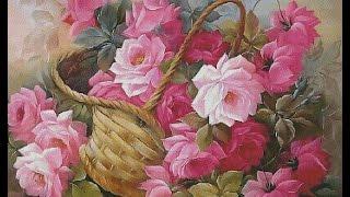 ВЫШИВКА ЛЕНТАМИ. Картины. Цветы. Розы в корзине. Эскиз -  часть 1.