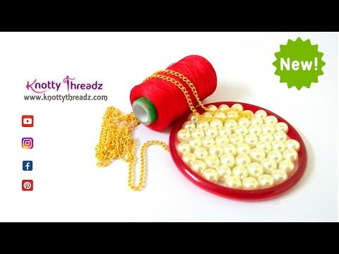 How To Make beautiful Pearl Necklace At Home   DIY Party Wear    Chokar   www.knottythreadz.com