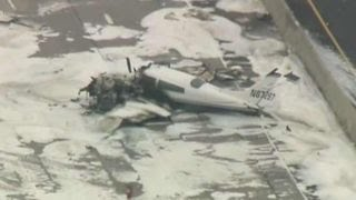 Small plane crash on major freeway in Southern California