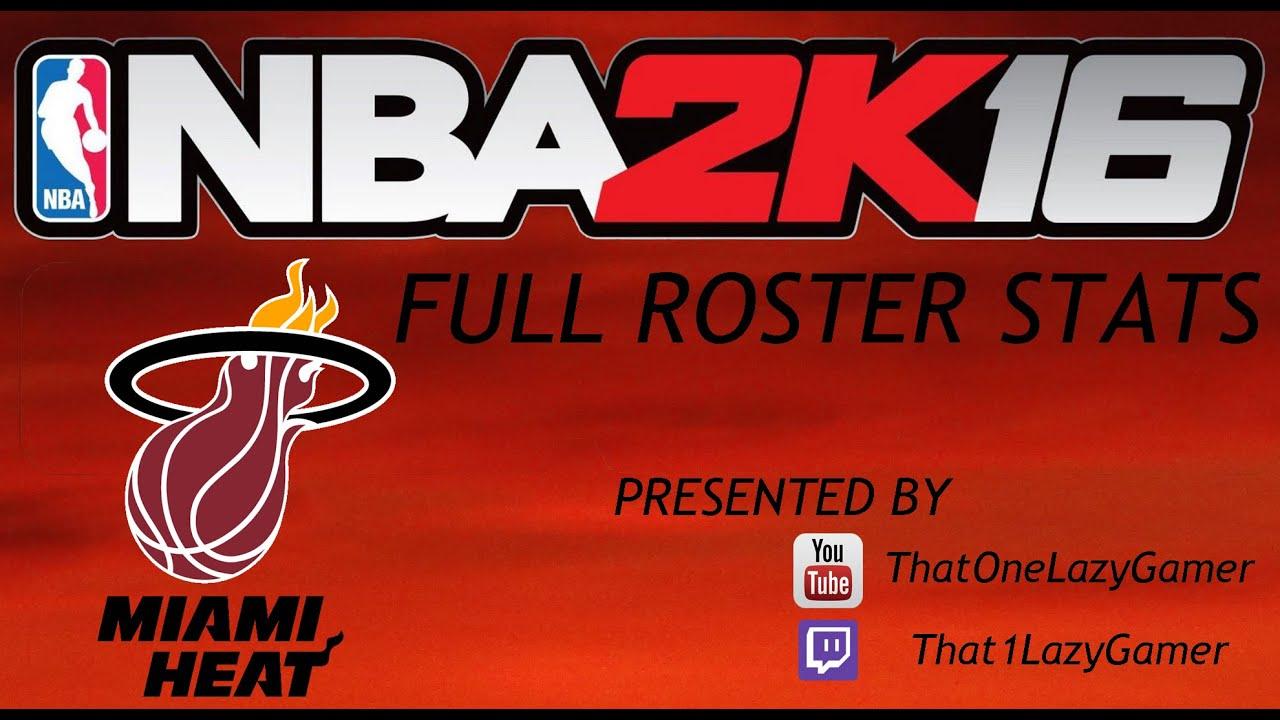 Miami heat roster nba - Nba 2k16 Full Roster Stats Miami Heat