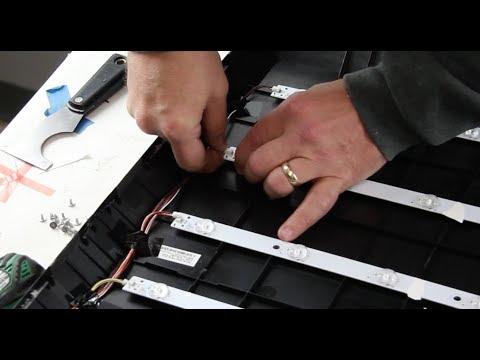 "Vizio 55"" LED TV - No Backlights Bad LEDs - How To Replace LED Strips E55 EM55"