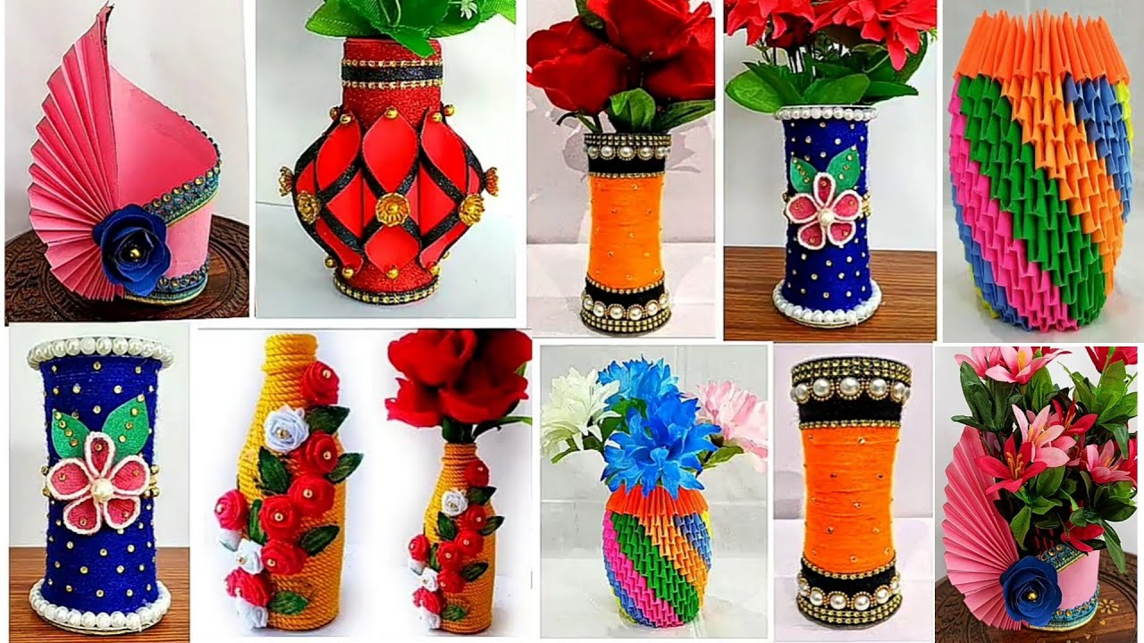 6 Best Flower Vase Ideas Out Of Waste Materials Home Decor Ideas Handmade Youtube