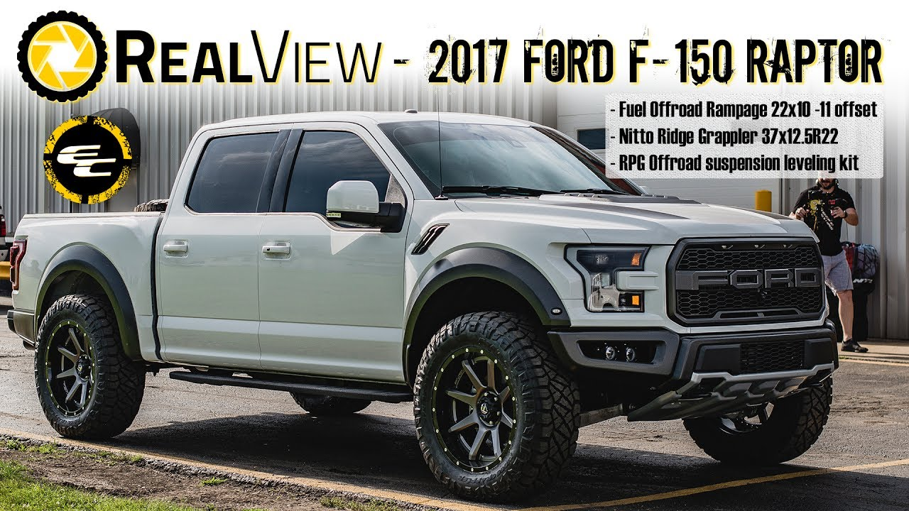 "2017 Ford F150 Lifted >> RealView - Leveled 2017 Ford F-150 Raptor w/ 22"" Fuel Rampages & 36"" Nitto Ridge Grapplers - YouTube"