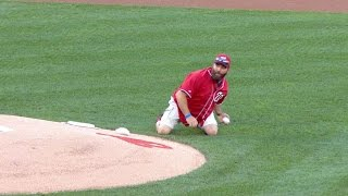 Army vet tosses grenade-style first pitch