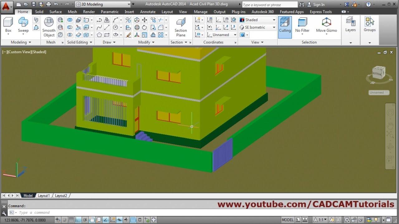 Autocad 3d House Modeling Tutorial Beginner Basic 6