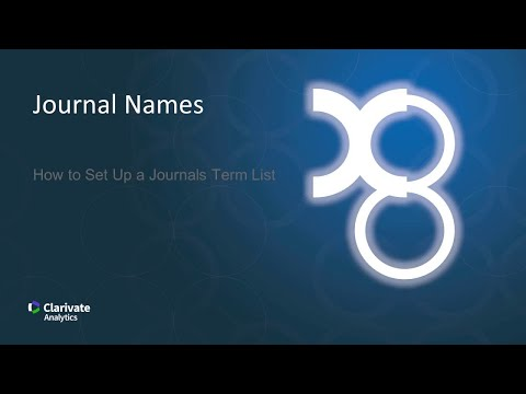 Journal Names: How to Set Up a Journals Term List