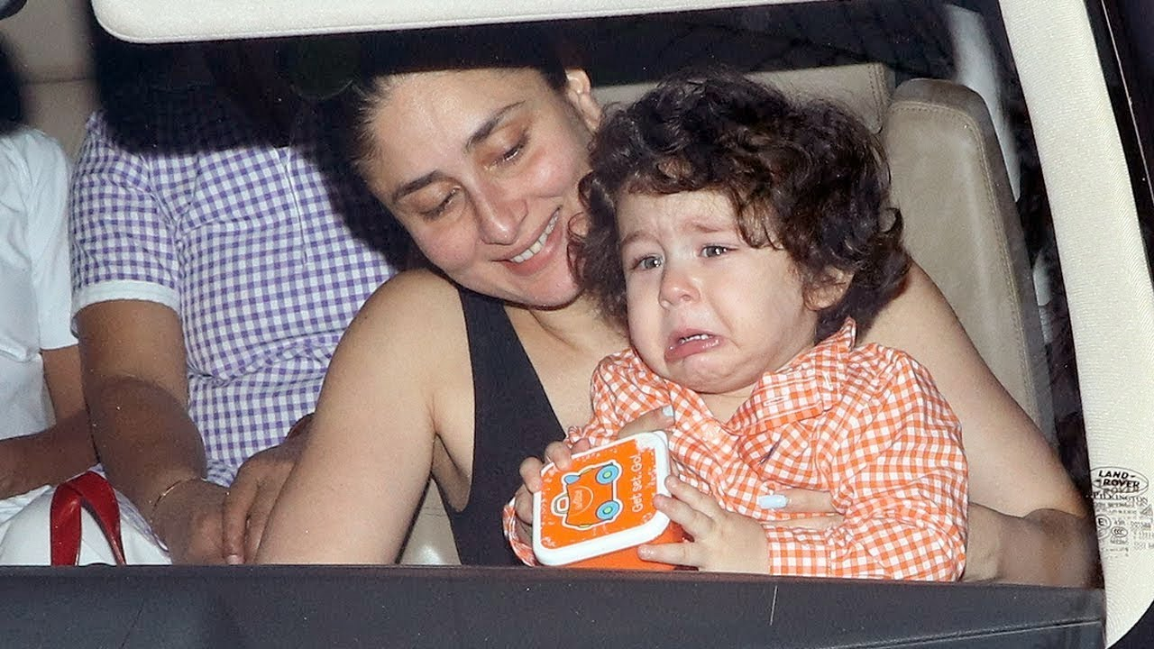 CUTE Taimur Ali Khan CRYING BADLY In Kareena Kapoor's Arms - YouTube