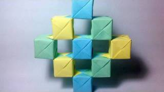 Origami Moving Cubes using Sonobe units