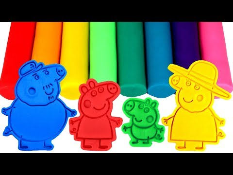 Peppa Pig Play Doh Molds with Granny Grandpa Daddy Mummy George Head Shoulders Knees Toes Kids Songs