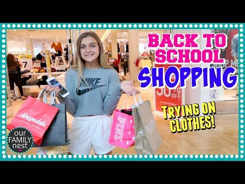 BACK TO SCHOOL CLOTHES SHOPPING!! TRYING ON OUTFITS AT THE MALL!
