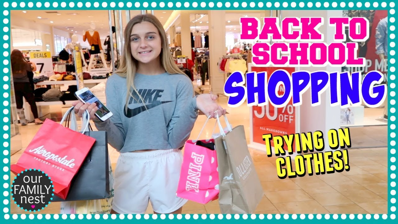 BACK TO SCHOOL CLOTHES SHOPPING TRYING ON OUTFITS AT THE MALL