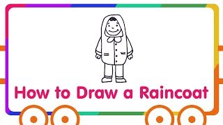 Raincoat Drawing for Kids - Step by Step