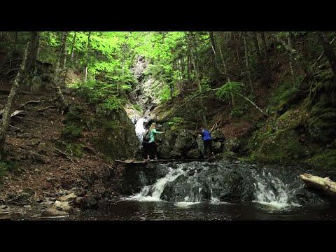 Hiking at the Hidden Falls in Five Islands, Nova Scotia