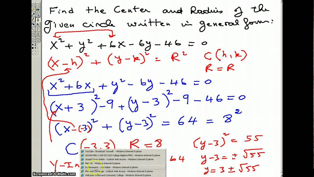 Find The Center And The Radius Of A Circle Given In General How To