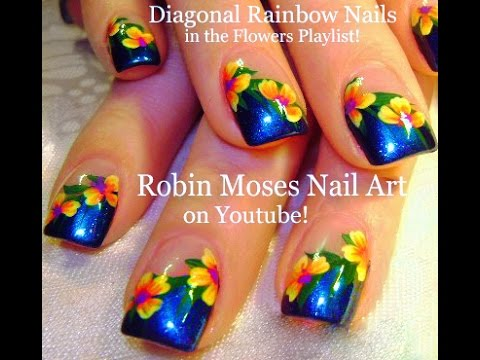 Easy Rainbow Flower Nails | Diagonal French Manicure Nail ...