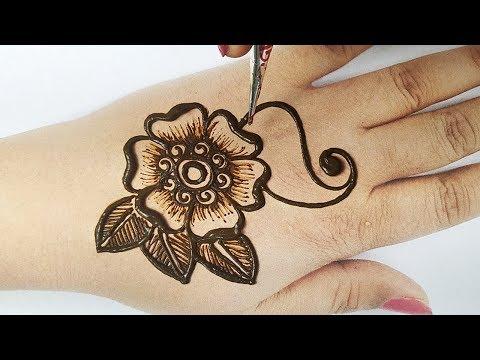मेहँदी लगाने का आसान तरीका - फ्लावर से मेहँदी डिज़ाइन, Stylish Floral Shaded Backhand Mehndi