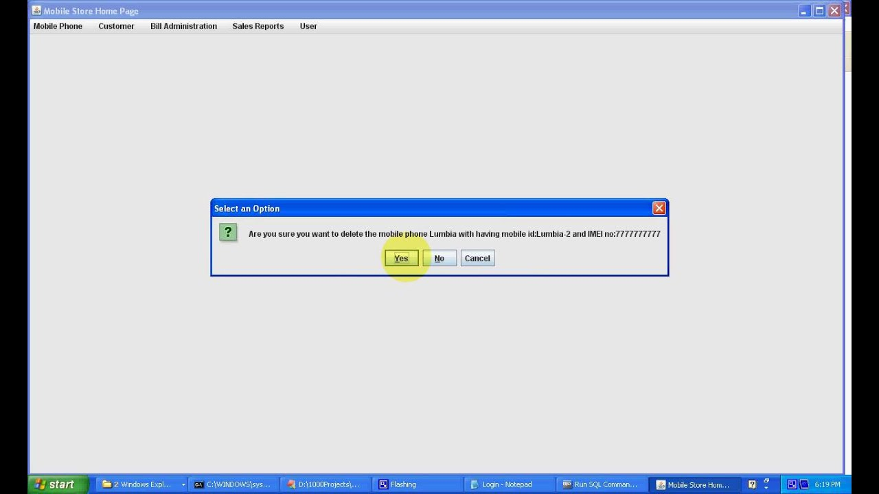 Computerized Mobile Store Management System Java Project