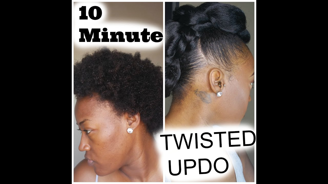 10 Min Twisted UpDo on Natural Hair + Gorilla Snot 1st Impression - YouTube