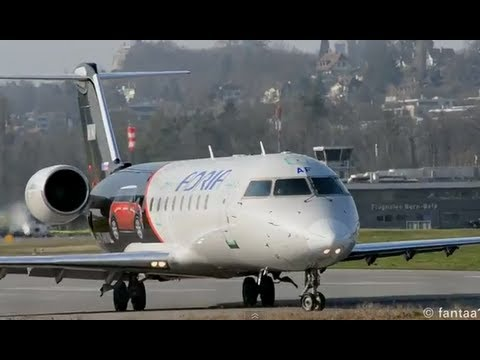 Close takeoff - CRJ-200LR at airport Bern-Belp HD