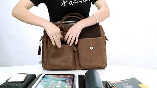 CARANFIER Men Shoulder Messenger Bags Genuine Leather