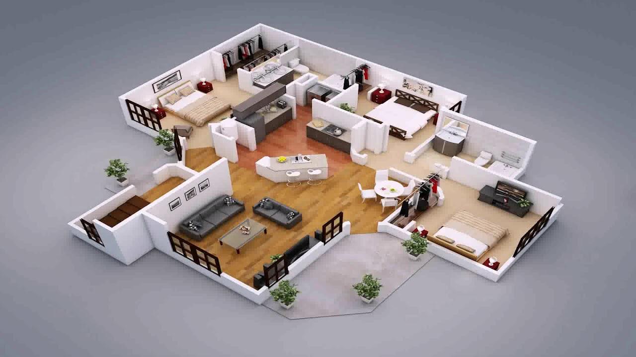 Split level 3d house plans youtube for 3d floor plan online free