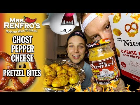 Eating Mrs. Renfro's Ghost Pepper Queso with NICE's Soft Pretzel Bites
