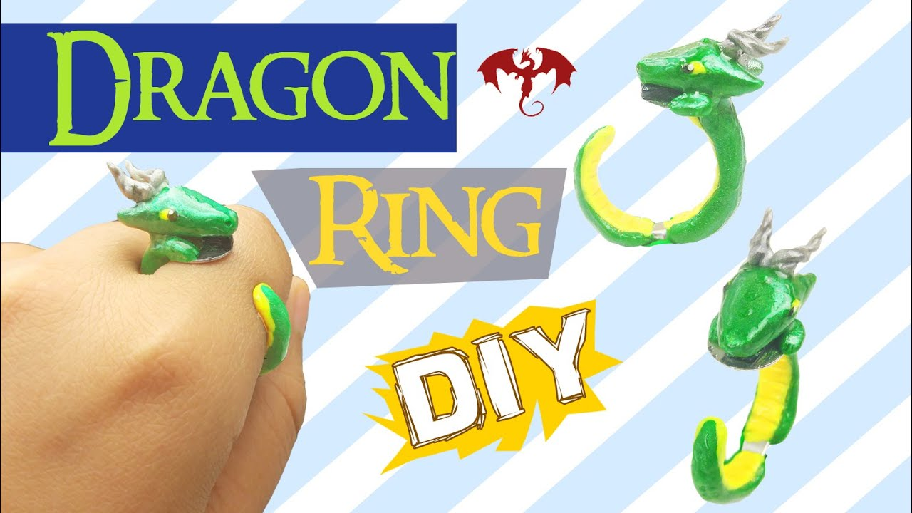 Diy Dragon Ring  Dragon Polymer Clay Tutorial  How To Make A Handmade Ring  Craft