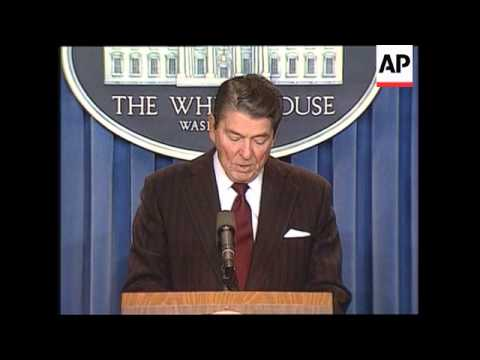 President Ronald Reagan holds newser to announce National Security Council