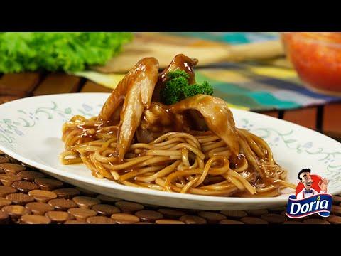 Spaghetti Doria con alitas al  BBQ