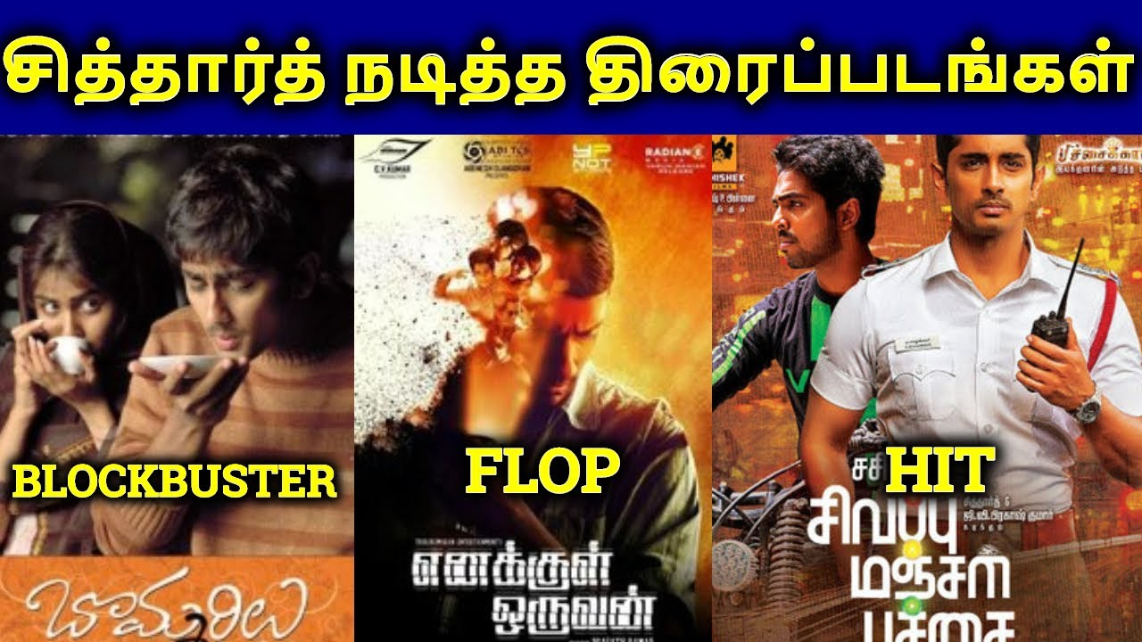 Siddharth Movies Hit? Or Flop? | Siddharth Filmography ...